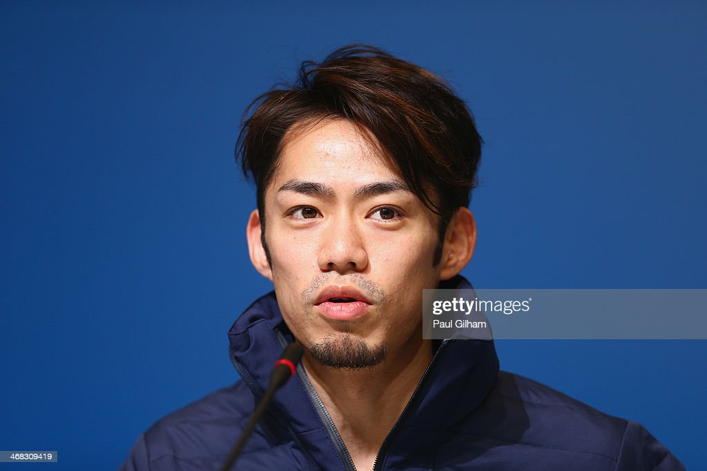 Figure skater <a gi-track='captionPersonalityLinkClicked' href=/galleries/search?phrase=Daisuke+Takahashi&family=editorial&specificpeople=725172 ng-click='$event.stopPropagation()'>Daisuke Takahashi</a> of Japan attends the Japan Fugire skating Mne's team press conference during day 3 of the Sochi 2014 Winter Olympics at Main Press Center on February 10, 2014 in Sochi, Russia.