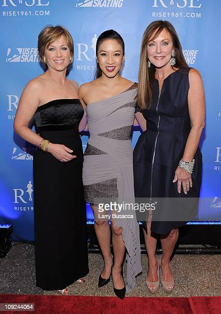 Figure Skater Dorothy Hamill Figure Skater Michelle Kwan and Figure Skater Peggy Fleming attend the New York premiere Of 'RISE' at Best Buy Theater...