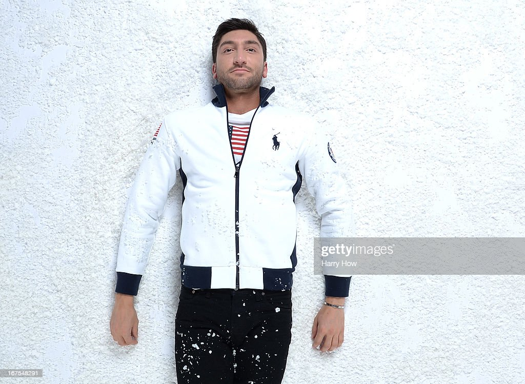 Figure skater Evan Lysacek poses for a portrait during the USOC Portrait Shoot on April 25, 2013 in West Hollywood, California.