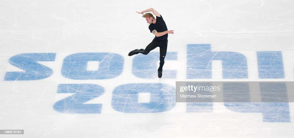 Figure skater Evgeny Plyushchenko of Russia practices ahead of the Sochi 2014 Winter Olympics at the Iceberg Skating Palace on February 5, 2014 in Sochi, Russia.