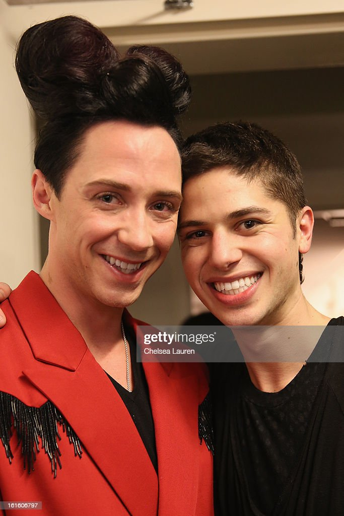 Figure skater <a gi-track='captionPersonalityLinkClicked' href=/galleries/search?phrase=Johnny+Weir&family=editorial&specificpeople=208701 ng-click='$event.stopPropagation()'>Johnny Weir</a> and Asher Levine attend the Asher Levine Fall 2013 fashion show during Mercedes-Benz Fashion Week at at Manhattan Movement & Arts Center on February 12, 2013 in New York City.
