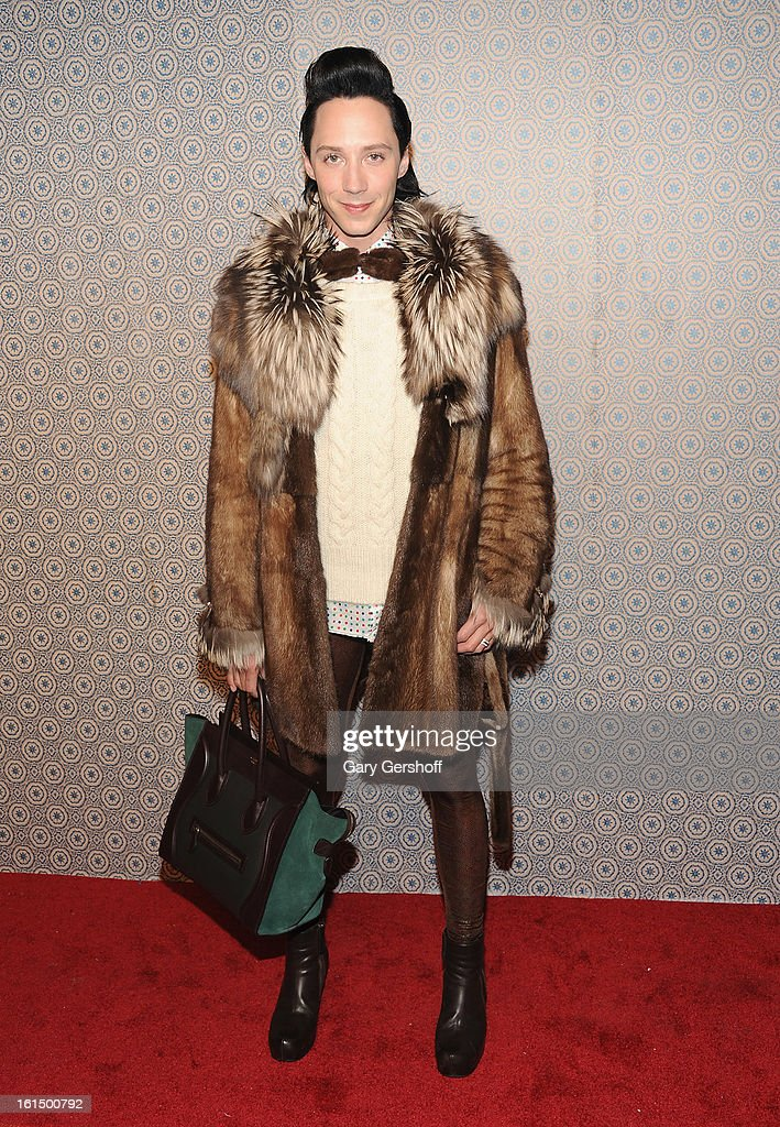 Figure skater <a gi-track='captionPersonalityLinkClicked' href=/galleries/search?phrase=Johnny+Weir&family=editorial&specificpeople=208701 ng-click='$event.stopPropagation()'>Johnny Weir</a> attends the Alice + Olivia By Stacey Bendet presentation during Fall 2013 Mercedes-Benz Fashion Week on February 11, 2013 in New York City.