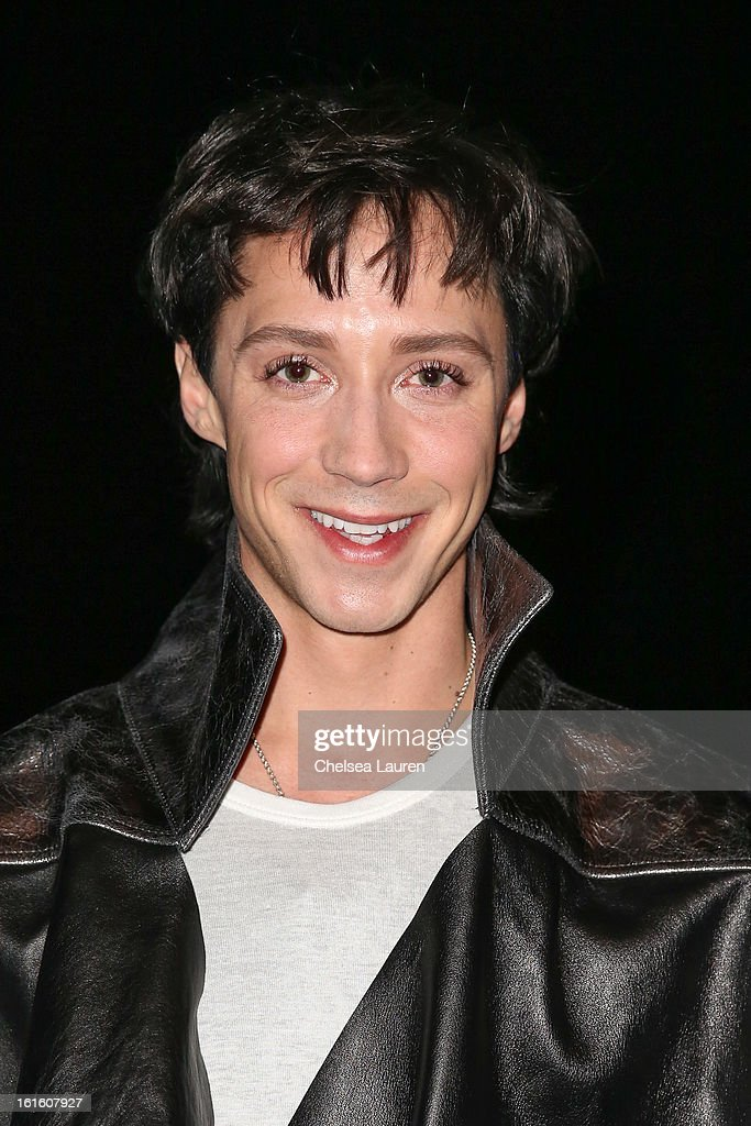 Figure skater <a gi-track='captionPersonalityLinkClicked' href=/galleries/search?phrase=Johnny+Weir&family=editorial&specificpeople=208701 ng-click='$event.stopPropagation()'>Johnny Weir</a> attends the Asher Levine F/W 2013 runway show at Manhattan Movement & Arts Center on February 12, 2013 in New York City.