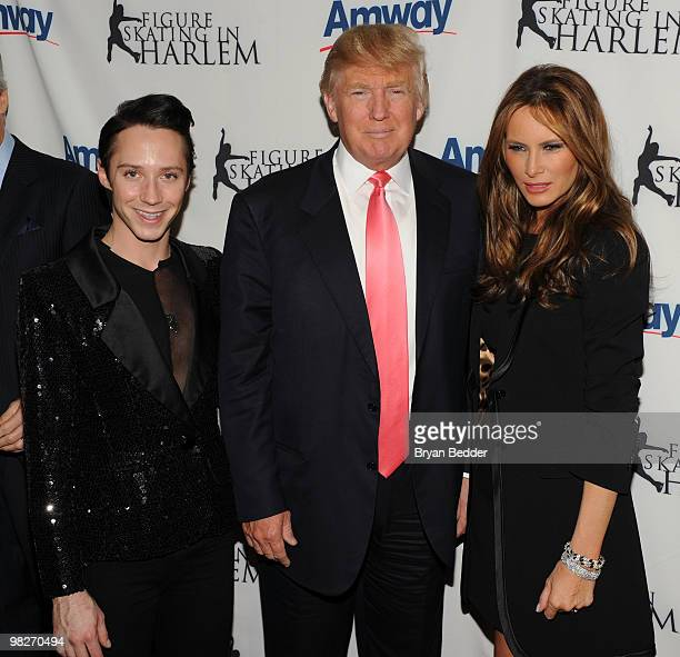 Figure skater Johnny Weir Donald Trump and Melania Trump attend the Figure Skating in Harlem's 2010 Skating with the Stars benefit gala in Central...