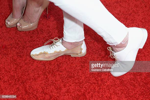 Figure skater Johnny Weir shoe detail attends the 142nd Kentucky Derby at Churchill Downs on May 07 2016 in Louisville Kentucky