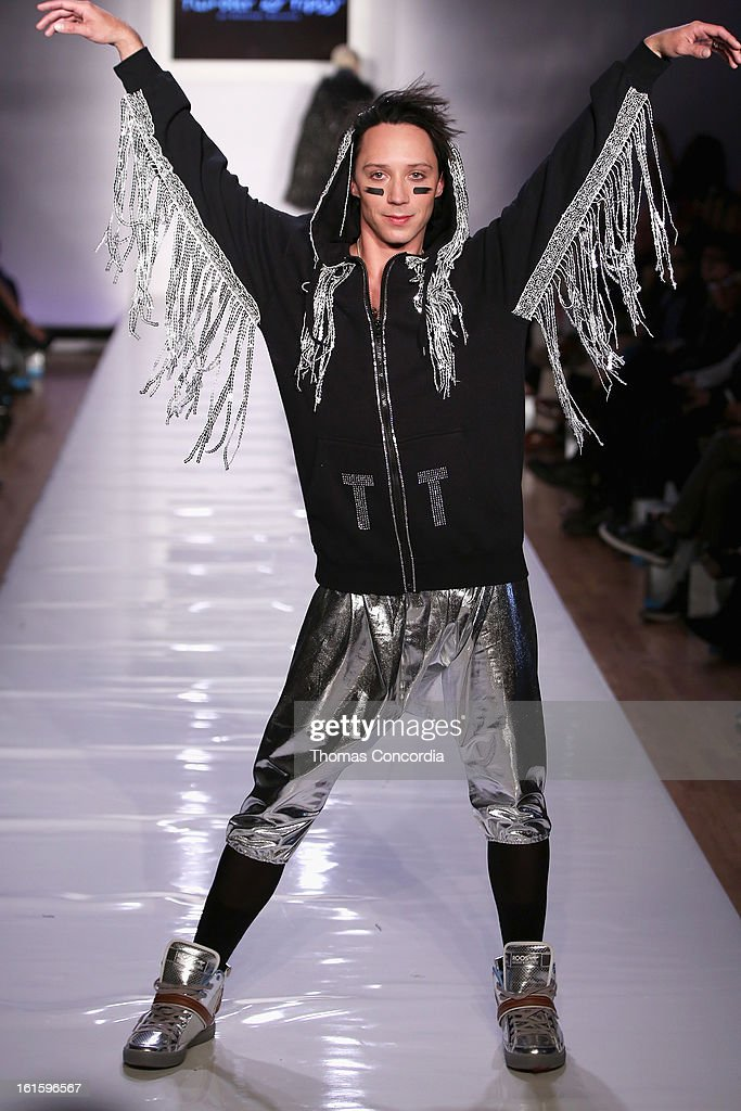 Figure skater Johnny Weir walks the runway at the Tumbler And Tipsy By Michael Kuluva Fashion Show At CONAIR STYLE360 at STYLE360 presented by Conair Fashion Pavilion on February 12, 2013 in New York City.