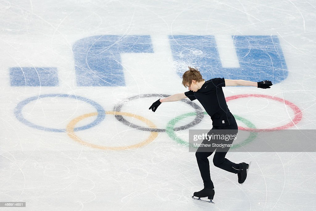 Figure skater <a gi-track='captionPersonalityLinkClicked' href=/galleries/search?phrase=Kevin+Reynolds&family=editorial&specificpeople=5578771 ng-click='$event.stopPropagation()'>Kevin Reynolds</a> of Canada practices ahead of the Sochi 2014 Winter Olympics at the Iceberg Skating Palace on February 5, 2014 in Sochi, Russia.