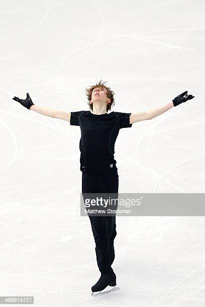 Figure skater Kevin Reynolds of Canada practices ahead of the Sochi 2014 Winter Olympics at the Iceberg Skating Palace on February 5 2014 in Sochi...