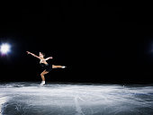 Figure skater landing a jump during a performance