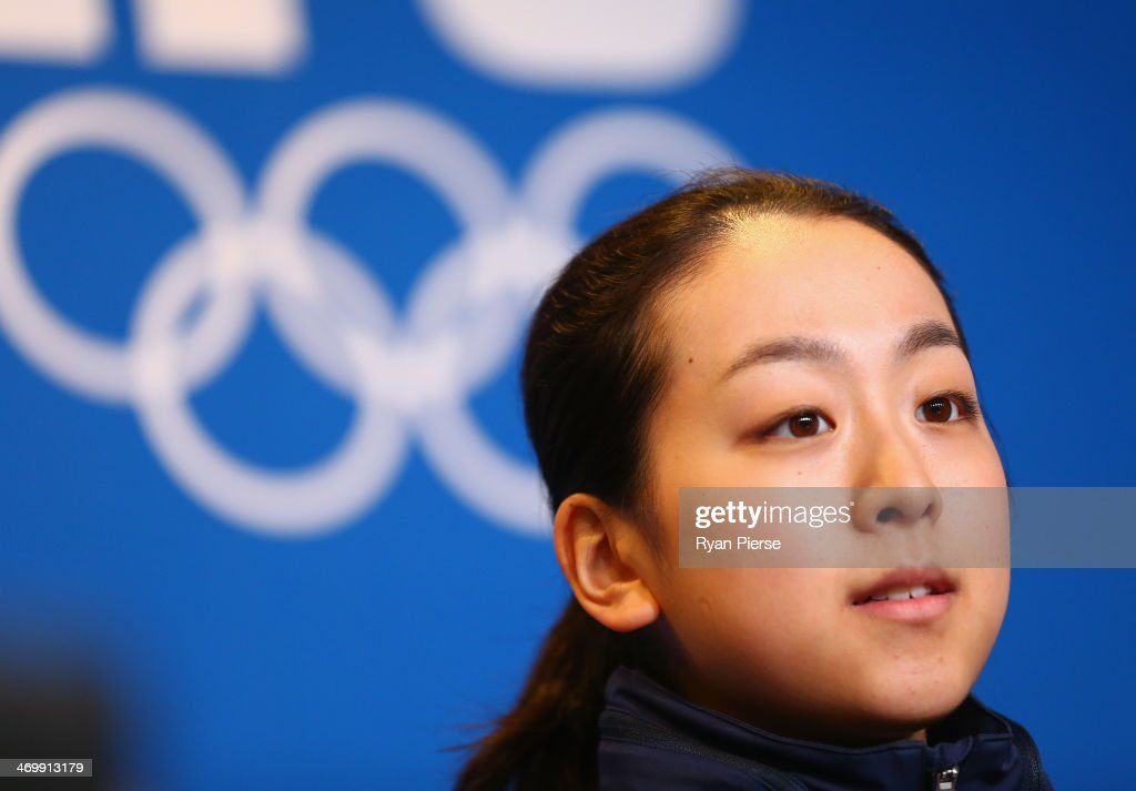 Figure skater <a gi-track='captionPersonalityLinkClicked' href=/galleries/search?phrase=Mao+Asada&family=editorial&specificpeople=247229 ng-click='$event.stopPropagation()'>Mao Asada</a> attends during the Japanese Ladies' Figure Skaters Press conference on day 10 of the Sochi 2014 Winter Olympics at Iceberg Skating Palace on February 17, 2014 in Sochi, Russia.