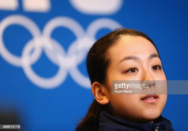 Figure skater Mao Asada attends during the Japanese Ladies' Figure Skaters Press conference on day 10 of the Sochi 2014 Winter Olympics at Iceberg...