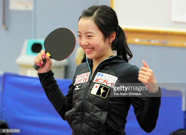 Figure skater Marin Honda plays table tennis during day two of the Winter Olympic Candidates Workshop at Ajinomoto National Training Center on April...