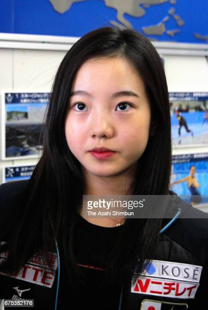 Figure skater Marin Honda speaks after attending the Winter Olympic Candidates Workshop at Ajinomoto National Training Center on April 30 2017 in...