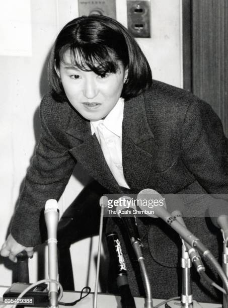Figure skater Midori Ito attend a press conference on her retirement on November 29 1996 in Tokyo Japan