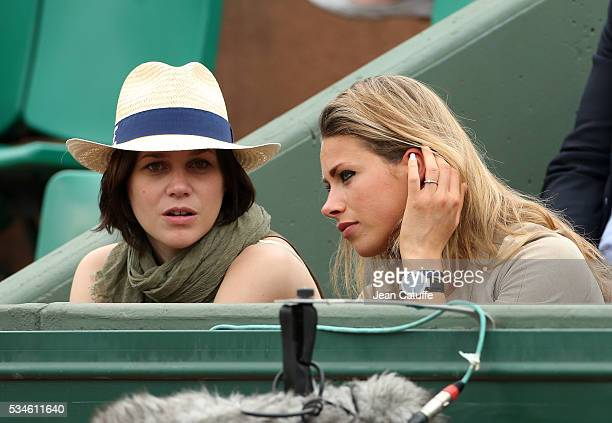 Figure skater Nathalie Pechalat and cyclist Marion Rousse attend day 5 of the 2016 French Open held at RolandGarros stadium on May 26 2016 in Paris...
