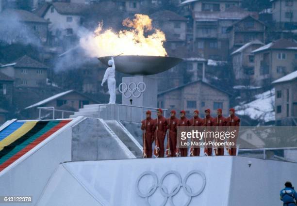 Figure skater Sanda Dubravcic of Croatia lights the Olympic Torch during opening ceremony for the Winter Olympic Games in Sarajevo Yugoslavia on 8th...