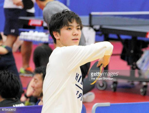 Figure skater Shoma Uno plays table tennis during day two of the Winter Olympic Candidates Workshop at Ajinomoto National Training Center on April 29...