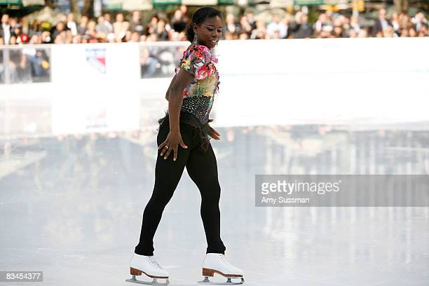 Figure skater Surya Bonaly performs at the 20082009 season grand opening of The Pond at Bryant Park October 27 2008 in New York City