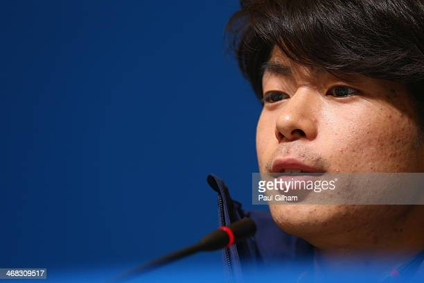 Figure skater Tatsuki Machida of Japan attends the Japan Fugire skating Mne's team press conference during day 3 of the Sochi 2014 Winter Olympics at...