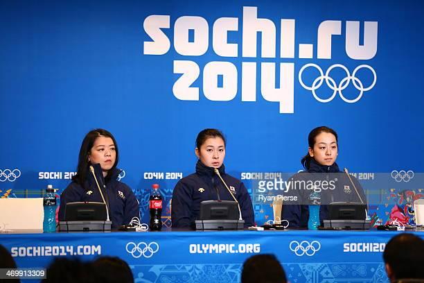 Figure skaters Akiko Suzuki Kanako Murakami and Mao Asada attend the Japanese Ladies' Figure Skaters Press conference on day 10 of the Sochi 2014...