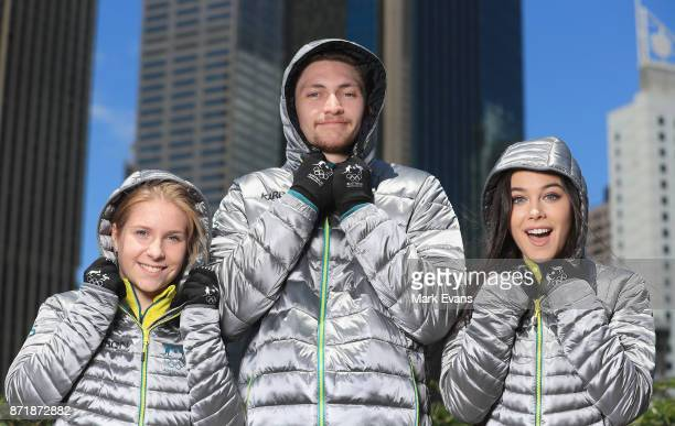 Figure skaters Ekaterina Alexandrovskaya Harley Windsor and Kailani Craine pose for photographs during the Australia Winter Olympic Athlete...