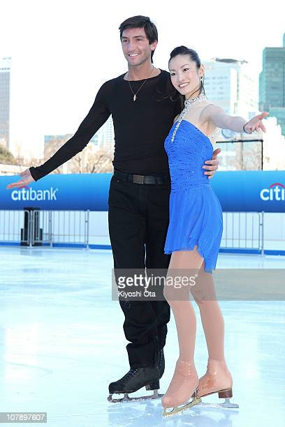 Figure skaters Evan Lysacek of the United States the 2010 Vancouver Winter Olympics figure skating gold medalist and Shizuka Arakawa the 2006 Turin...