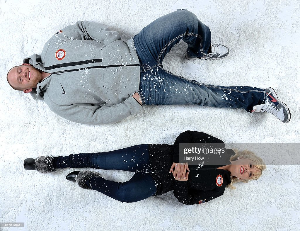 Figure skaters John Coughlin and Caydee Denney pose for a portrait during the USOC Portrait Shoot on April 25, 2013 in West Hollywood, California.