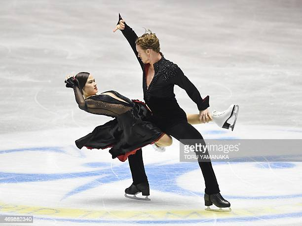 US figure skaters Madison Chock and Evan Bates perform during the short dance routine in the ice dance event at the ISU World Team Trophy figure...