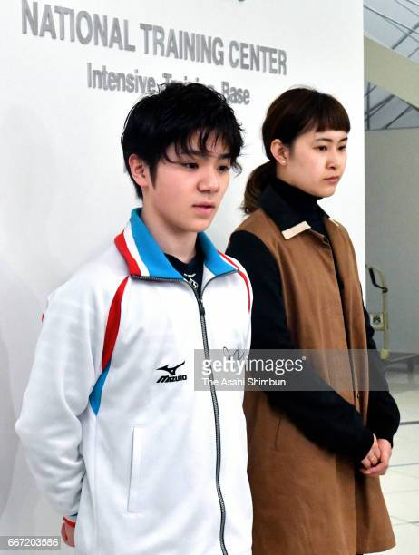 Figure skaters Shoma Uno and Kanako Murakami speak to media reporters after figure skater Mao Asada announced her retirement on April 11 2017 in...
