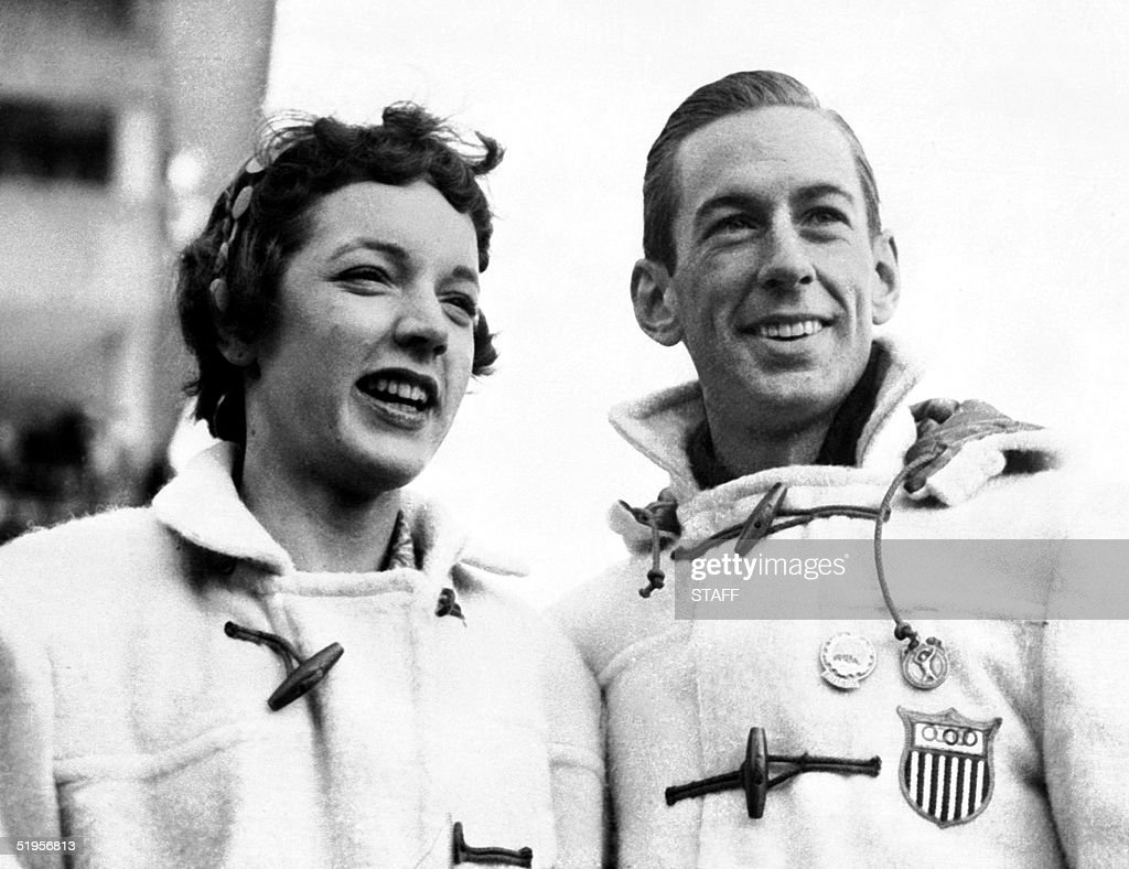 Figure skaters Tenley Albright and Hayes Alan Jenkins of the United States smile as they pose during the Winter Olympic Games 04 February 1956 in Cortina d'Ampezzo. Hayes Alan Jenkins and Tenley Albright became Olympic champions winning the gold medal.