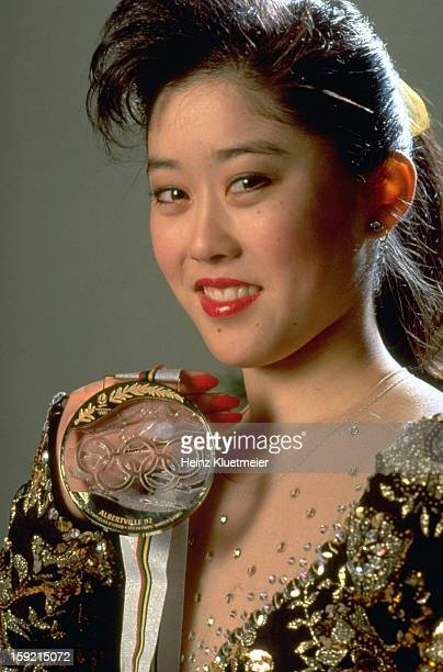 1992 Winter Olympics Closeup portrait of USA Kristi Yamaguchi victorious with gold medal during photo shoot Cover Albertvile France 2/21/1992 CREDIT...