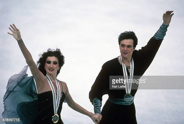 1992 Winter Olympics Unified Team Marina Klimova and Sergey Ponomarenko victorious on ice after Mixed Ice Dancing free program at Olympic Ice Hall...