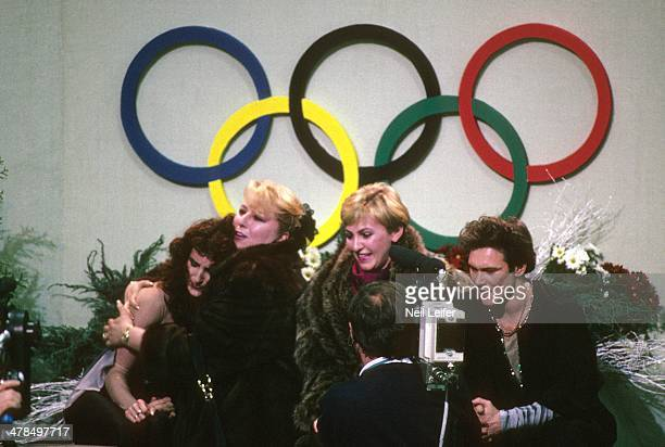 1992 Winter Olympics Unified Team Marina Klimova and Sergey Ponomarenko victorious in kiss and cry pen after Mixed Ice Dancing free program at...