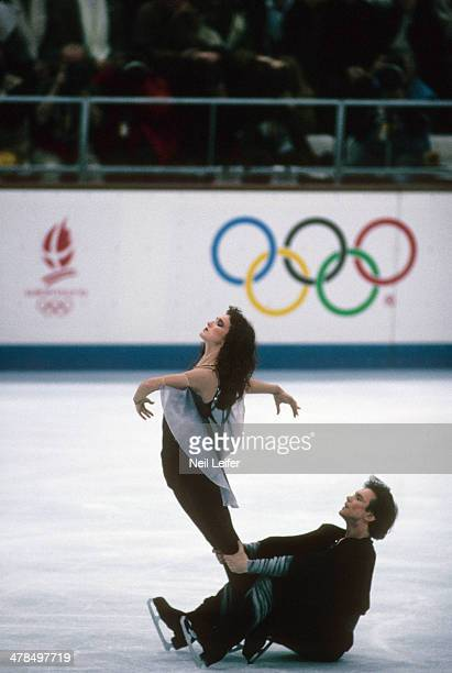 1992 Winter Olympics Unified Team Marina Klimova and Sergey Ponomarenko in action during Mixed Ice Dancing free program at Olympic Ice Hall Klimova...