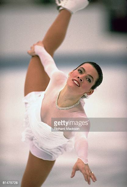 Figure Skating 1992 Winter Olympics USA Nancy Kerrigan in action during free program Albertville FRA 2/21/1992