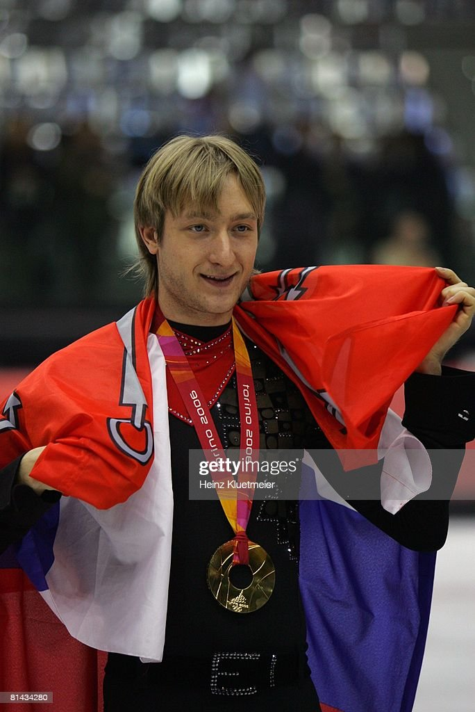2006 Winter Olympics, Closeup of Russia Evgeni Plushenko victorious after winning Free Skating gold medal at Palavela, Turin, Italy 2/16/2006