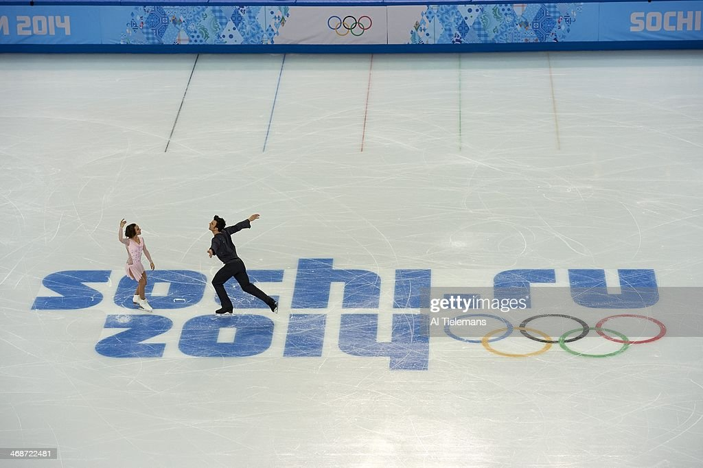 Aerial view of Canada Meagan Duhamel and Eric Radford in action during Team Pairs Short Program at Iceberg Skating Palace. Al Tielemans X157598 TK2 R1 F90 )