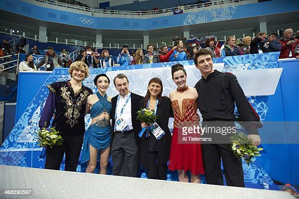 2014 Winter Olympics USA Meryl Davis and Charlie White with Canada Tessa Virtue and Scott Moir during Team Ice Dance Free Dance at Iceberg Skating...