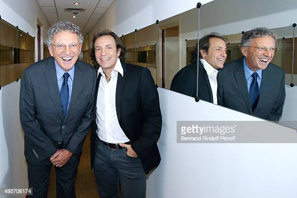 Figure skating commentators for France Television Journalist Nelson Monfort and former Figure Skater Philippe Candeloro attend the 'Vivement...