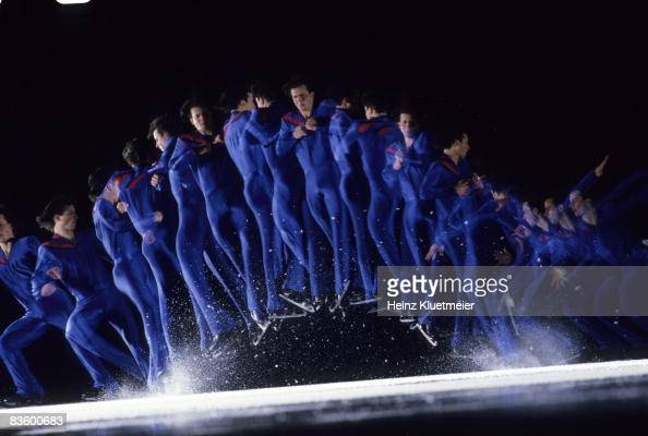 Multiple exposure view of USA Brian Boitano in action San Francisco CA 1/27/1988 CREDIT Heinz Kluetmeier
