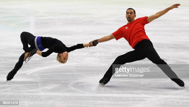 Figure skating pairs Robin Szolkowy and Aliona Savchenko of Germany practice ahead of the Vancouver 2010 Winter Olympics on February 11 2010 in...