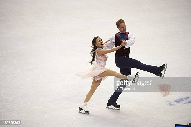 US Championships Madison Chock and Evan Bates in action during Pairs Free Dance program at TD Garden Chock and Bates place second Boston MA CREDIT Al...