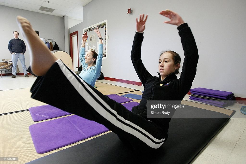Figure Skating USA Olympic athlete Kimmie Meissner working out doing Pilates Newark DE 1/27/2006