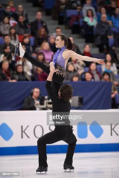 World Championships Canada Tessa Virtue and Scott Moir in action during Short Dance Program at Hartwall Arena Helsinki Finland 3/31/2017 CREDIT Bob...