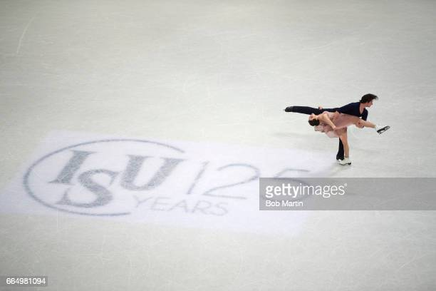 World Championships Overall view of Canada Tessa Virtue and Scott Moir in action during Free Dance Program at Hartwall Arena Helsinki Finland...
