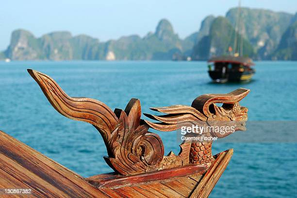 A figurehead of a traditional Vietnamese junk boat at Halong Bay Viet Nam