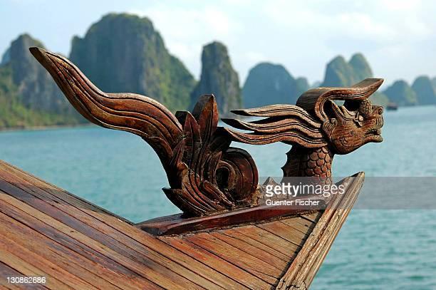 Figurehead of a traditional Vietnamese junk boat, Halong Bay, Vietnam
