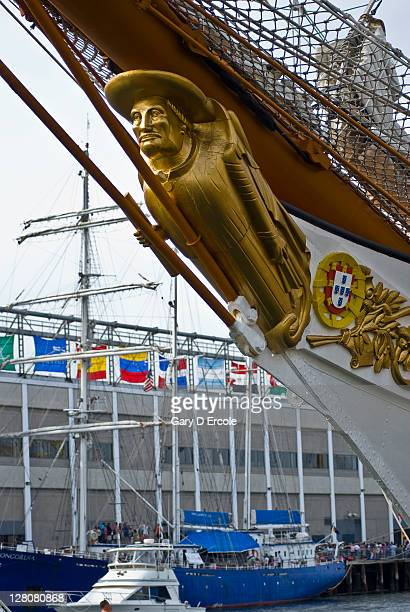 Figurehead on bow of tall ship docked in Boston, MA
