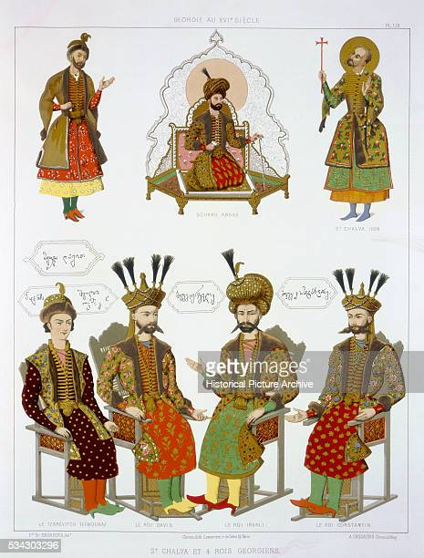 'Figures at top from left to right Shah Abbas nominal ruler during Safavid suzerainty St Chalva Bottom four Georgian kings David Irakli Constantine...