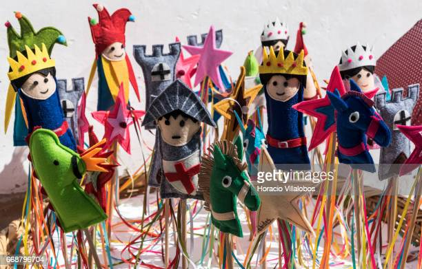 Figures depicting medieval motives are for sale during Good Friday when the town receives many visitors attracted for Holy Week religious activities...